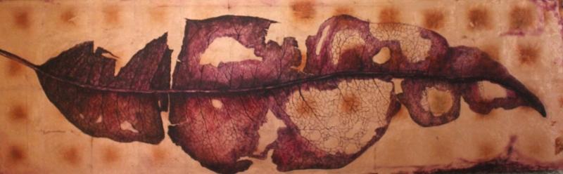 Miguel Guzmán Sandoval. Oaxaca, 1979. Disección. Óleo y hoja de cobre sobre tela